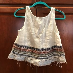 Urban Outfitters White Beaded Crop Top